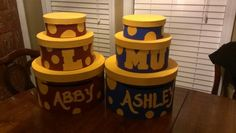 Card boxes for twins HS graduation party.