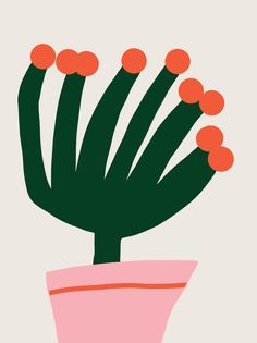 Flowering cactus by Jessica Nielsen on Artfully Walls Love Illustration, Floral Illustrations, Graphic Design Illustration, Motif Vintage, Plakat Design, Background Drawing, Graphic Design Posters, Minimalist Art, Design Art