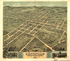 Bird's eye view of the city of Huntsville, Madison County, Alabama 1871. | Library of Congress