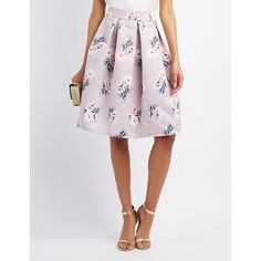 Charlotte Russe Floral Pleated Midi Skirt ($28) ❤ liked on Polyvore featuring skirts, mauve combo, a line midi skirt, high waisted a line skirt, a-line skirts, high-waisted skirts and high waisted pleated skirt