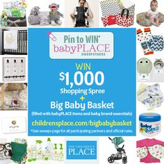 Enter our Pin to Win: babyPLACE sweeps for a chance to win $1000 shopping spree + tons of baby brand essentials! To enter visit www.childrensplac...