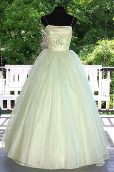 Vintage 1950s 60s Green Chiffon over Tulle Prom Party Evening Gown Dress Satin Roses Stunning! by VintageRoyalTreasure on Etsy