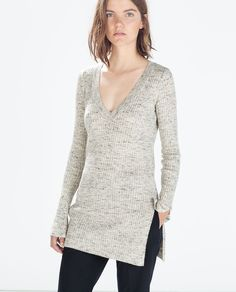 ZARA - WOMAN - RIBBED V-NECK SWEATER