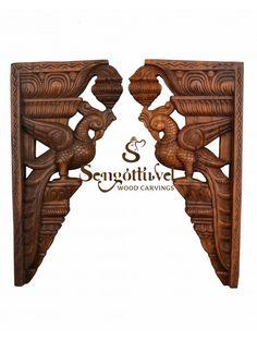 Brownish parrot wooden wall Brackets Wood Crown Molding, Door Brackets, Wooden Elephant, Dark Wax, Wooden Walls, Interior Design Kitchen, Beautiful Birds