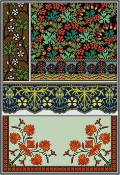 Geranium Floral Panel Cross stitch pattern PDF Art by Whoopicat
