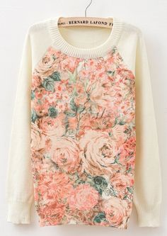 Long Sleeve Floral Print Sweater