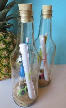 Tropical/Luau party invitations in a bottle