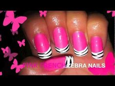 Cute pink french zebra inspired nail tutorial