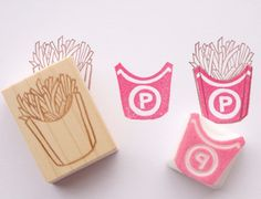 French fries stamp Junk food stationery by JapaneseRubberStamps