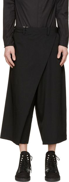 Visions of the Future: Yohji Yamamoto Black Cropped Wide-Leg Trousers