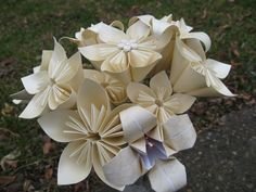 Ivory Paper Flower Bouquet Medium Size Gift Home by TreeTownPaper, $48.00