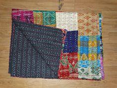 Indian Vintage sari Quilt Handmade Patchwork Kantha Quilt Kantha Blanket Throw #Handmade #Asian