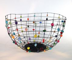 Large Annealed Steel Candy Basket by Sally Prangley (Metal Basket) Contemporary Baskets, Sculpture Art, Wire Sculptures, Abstract Sculpture, Bronze Sculpture, Wire Jewelry, Jewelry Rings, Silver Jewelry, Metal Baskets