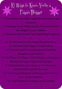 10 Ways to Know You're a Pagan Blogger
