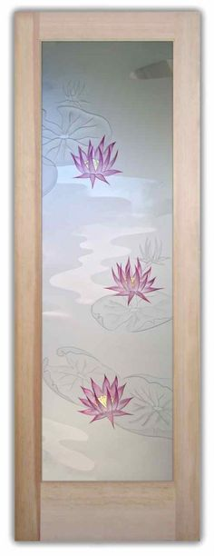 Glass Door - Etched Glass Front Door - Lotus & Lilly Pads in Color - Etched Glass Doors by Sans Soucie Art Glass. Glass Door - Etched Glass Front Door - Lotus & Lilly Pads in Color - Etched Glass Doors by Sans Soucie Art Glass. Door Design, Frosted Glass Door, Etched Glass Door, Glass Etching Designs, House Painting, Door Glass Design, Glass Design, Pooja Room Door Design, Front Door Design