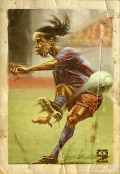 Ronaldinho by A-BB on DeviantArt Football Icon, Best Football Players, Football Gif, Football Cards, Soccer Players, Ronaldinho Wallpapers, Messi Neymar, Fc Barcelona Wallpapers, Soccer Art