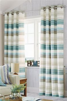 Buy Teal Watercolour Stripe Eyelet Curtains from the Next UK online shop