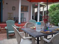 The patio at the Toland Adobe, a Bisbee vacation rental.
