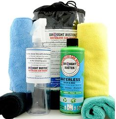 Waterless Car Wash & Wax Kit by Drought Buster(TM), Cleans Polishes Protects Car with Ounces of Water, 16oz SuperConcentrate=2 gals, Easy-to-use, safe detailing system Biodegradable Drought Buster Waterless Car Wash http://www.amazon.com/dp/B00BVVFGYM/ref=cm_sw_r_pi_dp_.yKWwb1K71NVY