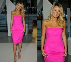 Blake Lively in neon pink Michael Kors (I think...)