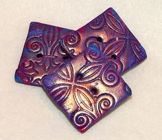 SQUARE Marbled & Embossed Metallic Polymer Clay by KatersAcres, $3.25