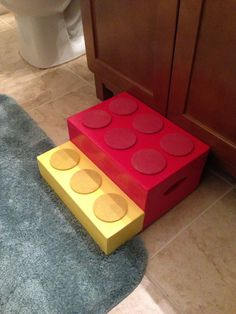 Step Stool For Kids - Child's Step Stool - Red - Yellow - Solid Wood - Kids…