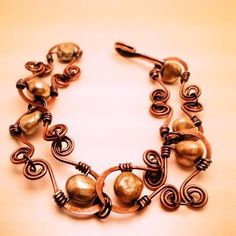 Handcrafted wire wrapped copper bracelet