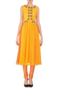 Canary Yellow & Orange Embroidered Kurta Set by Karieshma Sarnaa, Kurtas & kurtis