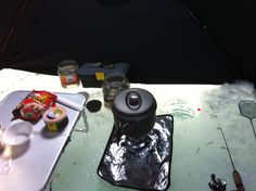 lunch at ice fishing