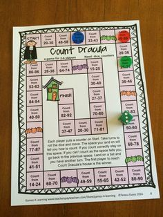 In this Count Dracula game, the player have to count as they are told to on the square they land on! Halloween Math Games First Grade by Games 4 Learning $