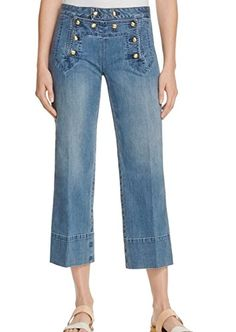 Womens Flare Light Cadet Wash Cropped Jeans