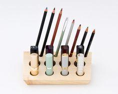 Pear Wood Makeup Organizer Makeup Holder Makeup Brush Storage - Cosmetic makeup organizer wood countertop organizer by lessandmore