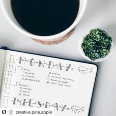 Coffee, bujo and time tracker for a Monday morning. #Repost @creative.pine.apple #bulletjournalcollection