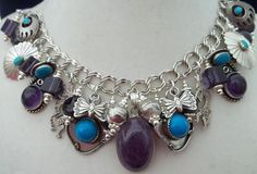 Vintage Native American Charm Bracelet Turquoise Sterling Bench Beads Amethyst