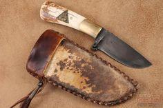 Daniel Winkler Primitive Damascus Belt Knife Stag 25 The New York Custom Knife Show