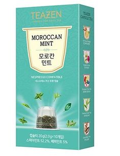 TEAZEN Moroccan Mint Capsule Tea for Nespresso Machine, (10-Count Box ) •COMPATIBILITY •EASY TO DRINK •DEEP AND RICH FLAVOR •ALWAYS SAME FLAVOR AND FRAGRANCE •ENJOY COOL ICED TEA ALL YEAR  #tea #capsule #Nespresso #drinkingtea #aroma #flavor #fragrance #cool #korean #koreanproduct