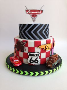 I made this Cake for my son's Birthday, he's crazy about Cars so...The best part is that he recognize the theme without the cars o...