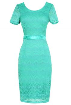 Lace Pinup Fitted Dress in Teal  www.lilyboutique.com