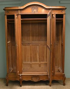 Merveilleux Large Armoire Wardrobe | Large French Decorative Walnut Antique Wardrobe /  Armoire.