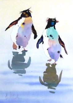 'Paddling Penguins' 47cm x 31cm £650 by Jake Winkle. A hugely talented watercolour painter, find more of Jake's work at www.lyndhurstgallery.co.uk