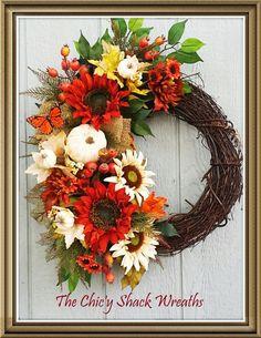 Fall Wreath,Autumn Wreath,Sunflower Wreath,White Pumpkin Wreath,Cottage Chic Wreath,Fall Decor,Designer…