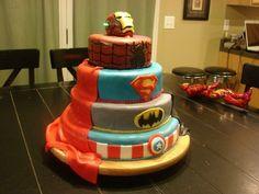 Super Hero Cake--love the idea of a cape on the cake!
