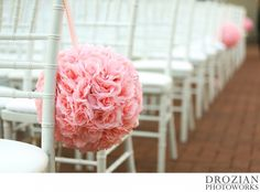 Super cute pink rose pom poms lined the aisle! #WinterWedding #Vizcaya #Sacramento #Drozian #Photoworks