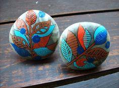 Bouton poignée de meuble galet de la mer Egée peint à l'acrylique (lot de 2)