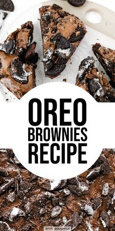 Rich Chocolate OREO Brownies - Golightly Food (Note: I added part cocoa powder and part chocolate chips and added Carmel pieces) Mini Desserts, Brownie Desserts, Brownie Recipes, Delicious Desserts, No Bake Desserts, Dessert Recipes, Desserts With Oreos, Cake Recipes, Cheesecake Desserts