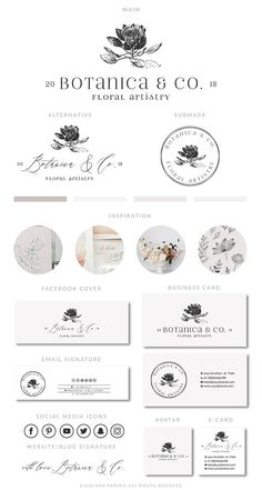 Greenery Logo Floral Wedding Logo Botanical Logo Botanical