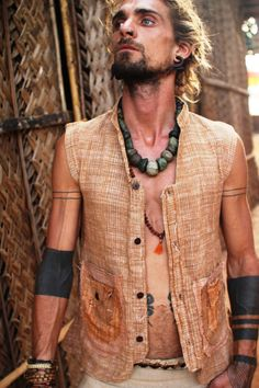 Frayed Khadi Men vest : by PrimitiveTribalCraft on Etsy