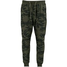 BoohooMAN Skinny Fit Camo Joggers ($35) ❤ liked on Polyvore featuring men's fashion, men's clothing, men's activewear, men's activewear pants, pants and bottoms