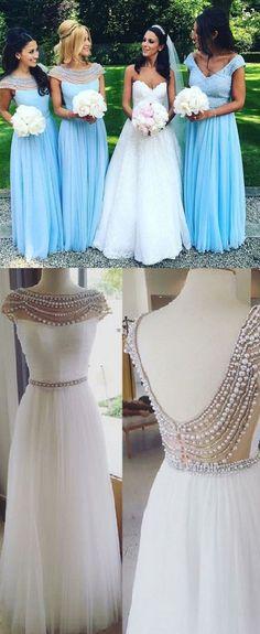 beaded bateau neckline long a-line/princess blue v back tulle bridesmaid dress