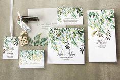 Biało - zielone zaproszenia ślubne z konwalią i złoconymi gałązkami w stylu glamour Wedding Paper, Wedding Day, Amelia Wedding, Wedding Prints, Marry Me, Wedding Invitations, Invites, Place Card Holders, Diy